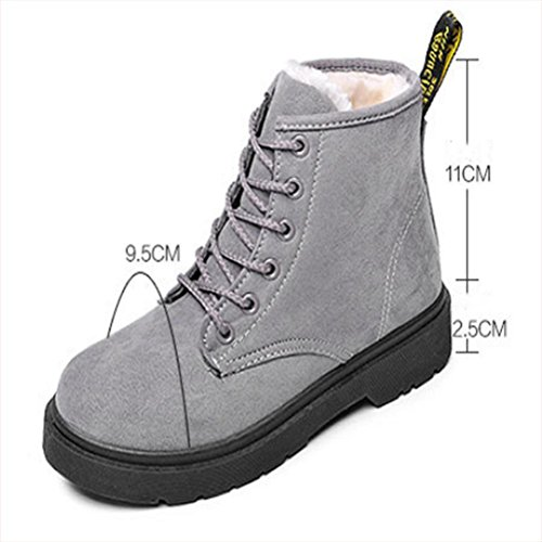Women Suede Lace-up flat Keep warm snow boots Non-slip Rubber sole outdoor office / Ladies Ankle boots/ Martin boots / shoes Grey PgvBjLXE
