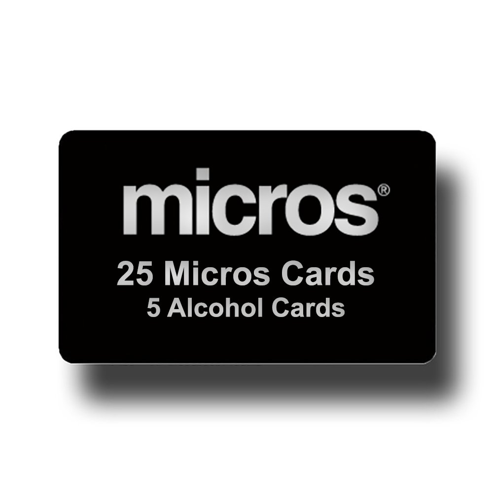 25 Black Micros Server Swipe Cards + 5 Pre-Saturated 100% Alcohol Credit Card Swipe Reader Cleaning Cards - AMAZON PRIME SHIPPING by Pos-Depot.com (Image #1)