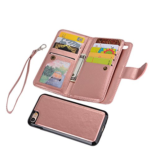 iPhone 6 Plus Wallet Case, iPhone 6s Plus Case, SUPZY Leather Detachable Magnetic Flip 9 Card Slots Holder Wrist Strap Purse Removable Slim Protective Cover for iPhone 6/6s Plus (Rose Gold)