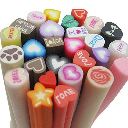 Fujiyuan 20 PCS Mixed Love Fimo Polymer Clay Cane Rod Nail Decorations Stick Sticker DIY Nail ()