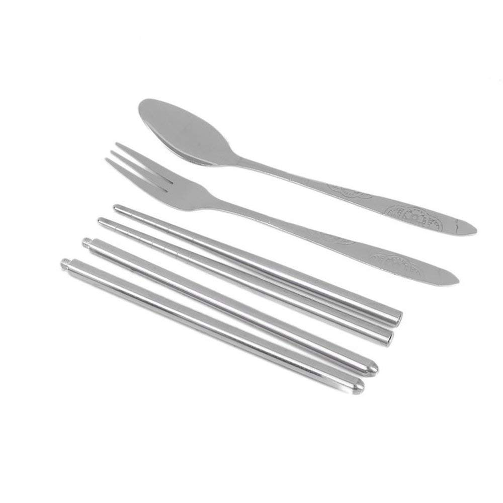 3pcs/Set Stainless Steel Portable Chopsticks Spoon Fork Dinner Flatware Set Cutlery Tableware Case Bag Set Space-Saving Erduo