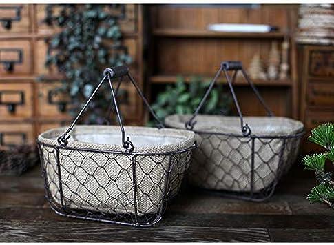 SMMBM Storage Baskets Multi-Functional Iron Retro Handle Grid Basket Industrial Wind Iron Basket Wire Basket Desktop Storage Basket with Inner Lining Cloth Black