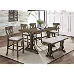 Esofastore Rustic Style Dining Set 6pcs Rectangle Counter Height Table w/4 Chairs & Bench