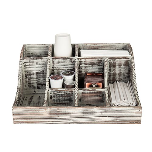 9-Compartment Rustic Torched Wood Tabletop Condiment Holder, Coffee & Tea Storage Caddy by MyGift (Image #3)
