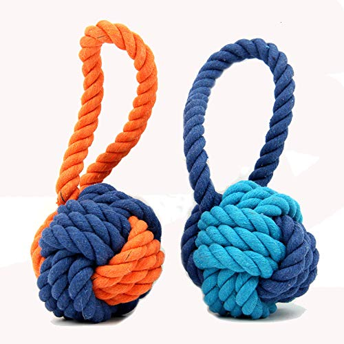 - XPangle Dog Ball Toy,Dog Interactive Rope Chew Toys Durable Teeth Throw and Tug War Plays for Medium to Large Breeds and Puppies(Orange)