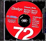 1972 Dodge Challenger Dart Coronet Shop Service Repair Manual CD Engine Body OEM