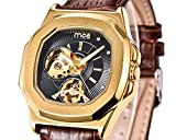 ManChDa Skeleton Mens Automatic Mechanical Wrist Watch Black Genuine Leather Dial Golden Movement Men