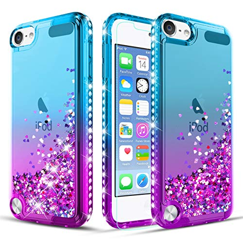 iPod Touch Case 7th/6th/5th Generation TPU Case W[Tempered Glass Screen Protector] Glitter Diamond Liquid Quicksand Waterfall Flowing Sparkle Bling Bling Case for Girls/Women-Teal/Purple