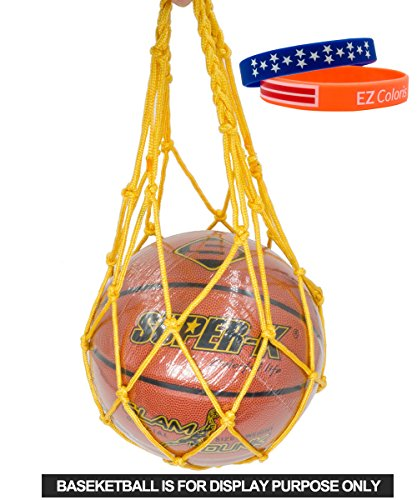 EZColoris Heavy Duty Sport Equipment Bag Drawstring Ball Mesh Net Nylon Ball Carrier Hold Basketballs, Footballs, Soccer Balls, Rugby, Volleyballs, Softballs - All around Sports Bag for (Carrier Nylon Mesh)