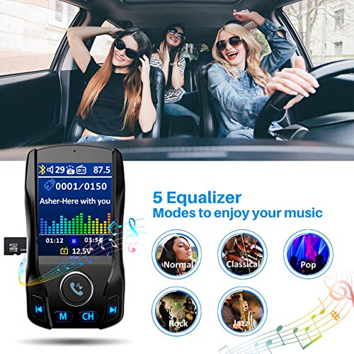 "VicTsing 1.8"" Color Display Bluetooth FM Transmitter for Car, Wireless Bluetooth Car Adapter with EQ Mode, Power Off, 3 USB Ports, 4 Music Playing, Hands-Free Calls, AUX Input"