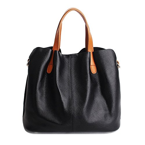 Black Tote Casual Women Satchel Lady TOYU Handbag Leather Shopping Tote Shoulder Purse Genuine S Ladies by Capacity Black Bucket Bag Bag ZSFpqwy4