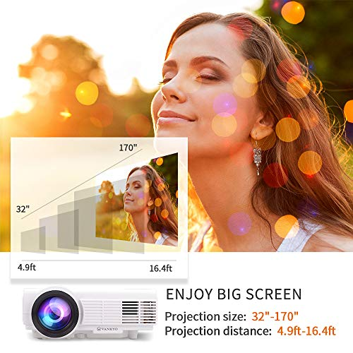 Vankyo Leisure 3 (Upgraded Version) 2400 Lux LED Portable Projector with Carrying Bag, Video Projector with 170'' and 1080P Support, Compatible with Fire TV Stick, PS4, HDMI, VGA, TF, AV and USB