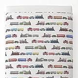 Carousel Designs Watercolor Trains Toddler Bed Sheet Top Flat