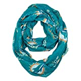 NFL Miami Dolphins Sheer Infinity Scarf, Blue, One size