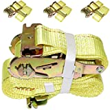 "DKG 2"" x 12' E Track Ratchet Straps – Ideal Enclosed Trailer Tie Down & Dry Van Cargo Straps – Standard E Track Spring Fittings or Connectors – Heavy Duty Steel Ratchet & Polyester Webbing (4 Pack)"