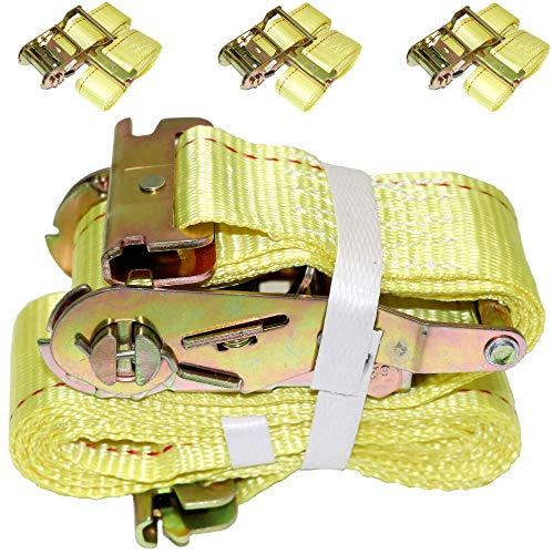 "(DKG 2"" x 12' E Track Ratchet Straps – Ideal Enclosed Trailer Tie Down & Dry Van Cargo Straps – Standard E Track Spring Fittings or Connectors – Heavy Duty Steel Ratchet & Polyester Webbing (4 Pack))"