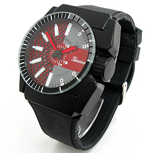 Black & Red Large Case Geneva Silicone Rubber Band Sport Men's Wrist Watch