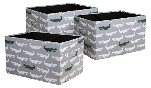 Lush Decor Alligator Fabric Covered 3 Piece Collapsible Storage Box Set, 14