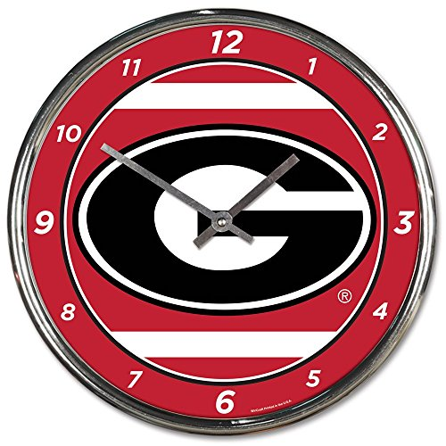 Georgia Bulldogs Round Clock - Georgia Bulldogs 12 inch Round Wall Clock Chrome Plated