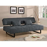 300137 Sofa Beds and Futons Contemporary Armless Sofa Bed with Tufted Seat Accent Pillows Included and Sleek Metal Legs in Grey Finish