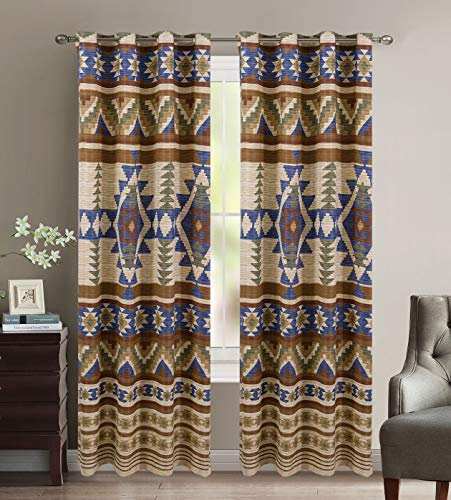 (Rustic Western Southwestern Native American Window Treatment Curtain Drapes Set with Thermal Insulation and Grommets in Beige Taupe Brown Blue and Green Colors -Austin Taupe Thermal Curtain Set)