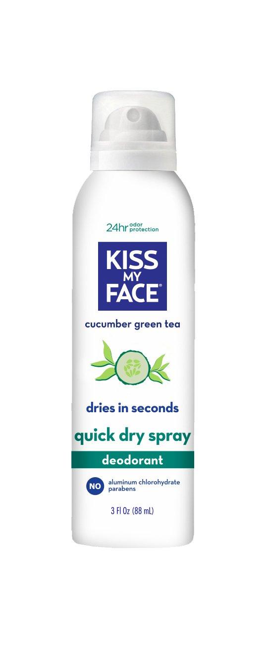 Kiss My Face Dry Spray Deodorant, Cucumber Green Tea, Aluminum Free, 3 Fluid Ounce