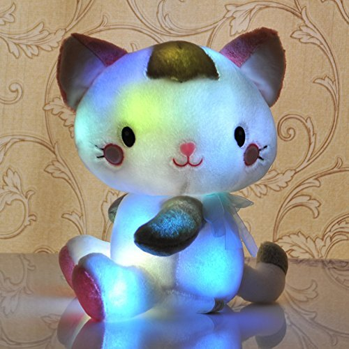 LED Stuffed Plush Toy - Sparkling Supper Cute Little Cat Light Up Plush Toys for Children/ Adult/ Christmas/Birthday/ Children's Day Gift/ Valentine's Day Present (40cm)