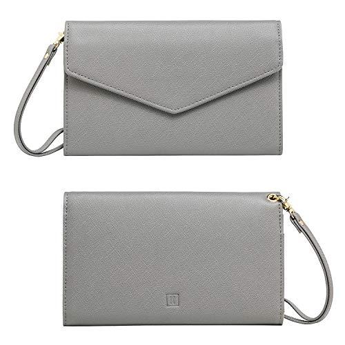 Krosslon Travel Passport Holder Wallet for Women Rfid Blocking Document Organizer Tri-fold Wristlet Bag, 217# Quartz Grey