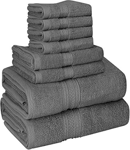 Utopia Towels Luxurious 700 GSM Thick 8 Piece Towel Set Grey