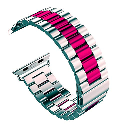 U191U Band Compatible with Apple Watch 38mm 42mm Stainless Steel Wristband Metal Buckle Clasp iWatch 40mm 44mm Strap Bracelet for Apple Watch Series 4/3/2/1 Sports Edition(Silver/Wine Red, 42MM)