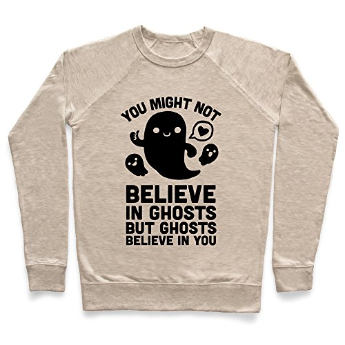 You Might Not Believe in Ghosts But Ghosts Believe in You Heathered Oatmeal Medium Unisex Lightweight Pullover Sweatshirt by LookHUMAN (Halloween 89123)