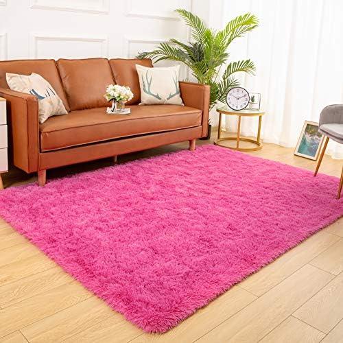 YJ.GWL Soft Shaggy Area Rugs for Bedroom Fluffy Living Room Rugs Anti-Skid Nursery Girls Carpets Kids Home Decor Rugs 3 x 5 Feet Hot-Pink
