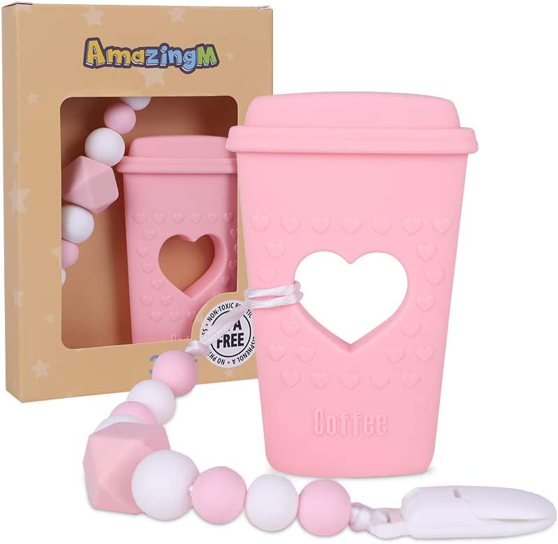 AmazingM Baby Coffee Cup Teething Toys,Food Grade Silicone Teether Toy with Pacifier Clip Holder,BPA Free,Freezer Safe,Teething Egg for Boy and Girl (Pink)