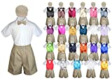 Baby Kid Toddler Boy Formal Suit KHAKI Shorts Shirt Hat Bow tie Vest set Sm-4T (2T, Dark Gray)