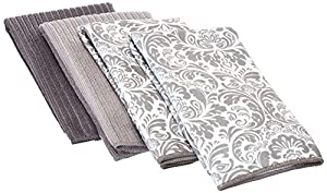 "DII Cleaning, Washing, Drying, Ultra Absorbent, Stripe Microfiber Dishtowel, 16x24""(Set of 4) - Grey Stripes"