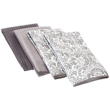 DII Microfiber Multi Purpose Towels for Dishes, Stainless Steel and Glass for Cleaning, Drying and Polishing, 16x19  (Set of 4) - Gray Damask