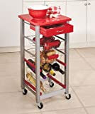 Red Wheeled Kitchen Utility Storage Cart Cabinet Wine Rack Basket Drawer
