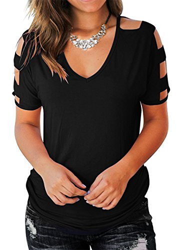 Eanklosco Womens Summer Short Sleeve Cold Shoulder Tops V Neck Basic T Shirts (Black, S)