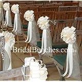 "Ivory Tulle & Ivory Satin Wedding Pew Bows Church Decorations Set of 14 9""x22"""