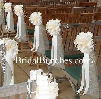 Amazon Com Ivory Tulle Ivory Satin Wedding Pew Bows Church