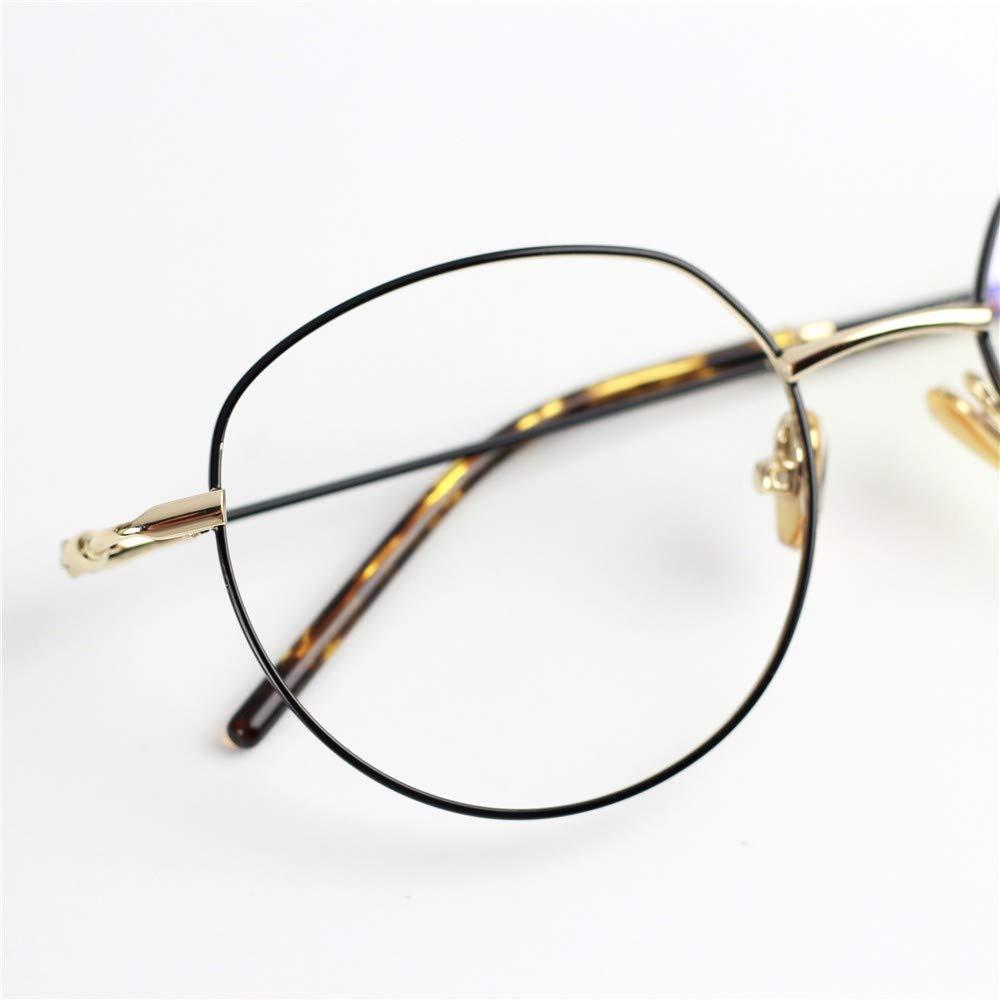 Literary retro anti-blue glasses flat mirror ultra light thin frame metal