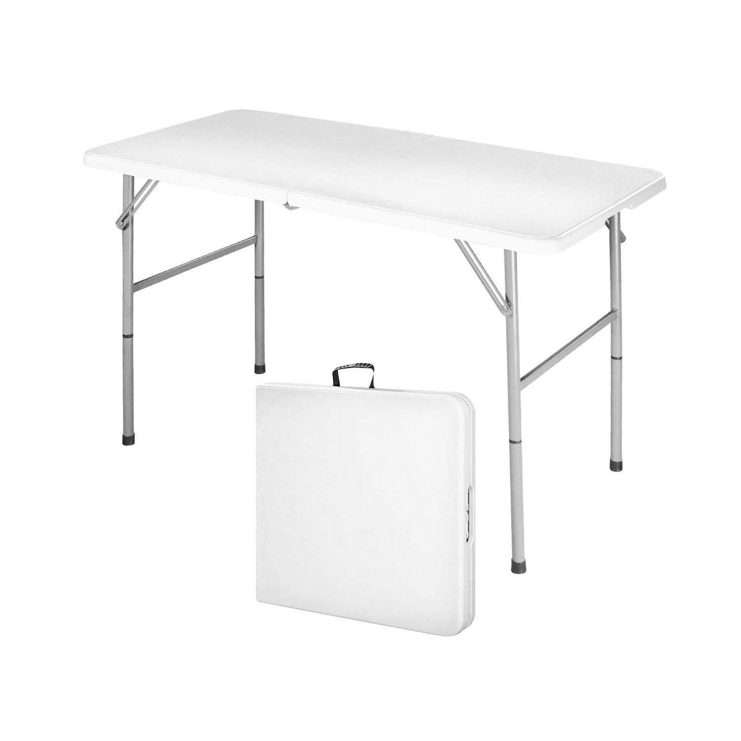 Modern-Depo 4ft Portable Folding HDPE Dining Table for Backyard, Picnic, Party, Camp w/Handle, Lock, Non-Slip Rubber Feet, Steel Legs,Powder Coated Iron Frame