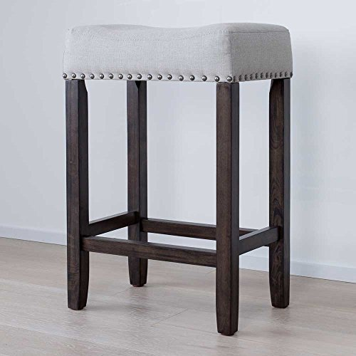 "Nathan James 21302 Hylie Nailhead Wood Kitchen Counter Bar Stool, 24"", Gray Upholstered Fabric Cushion, Dark Brown Finish"