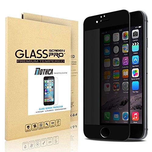 Mothca® [4 Way Privacy Tempered Glass] High Transparent Screen Protector for iPhone 6,360 Degree Anti Spy Full Coverage Shield Cover 0.2mm 9H Hardnees(iPhone 6 Black) (4 Way Screen)