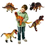 Set of 4 Large 36cm Soft Foam Rubber Stuffed Dinosaurs Play Toy Animals Figures