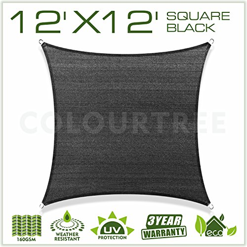 ColourTree 12' x 12' Sun Shade Sail Canopy  Square Black - Commercial Standard Heavy Duty - For Outdoor Patio Garden UV Block - 4 Years Warranty (Patio Window Shades Large)