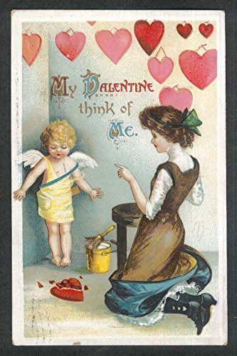 Mother decorating room for Valentine's Day cherub hearts embossed postcard 1911 (For Decorating Valentine Day)