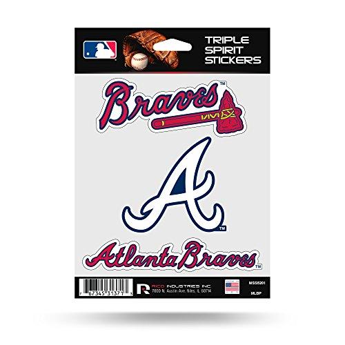 Atlanta Braves Triple Sticker Multi Decal Spirit Sheet Auto Home Baseball