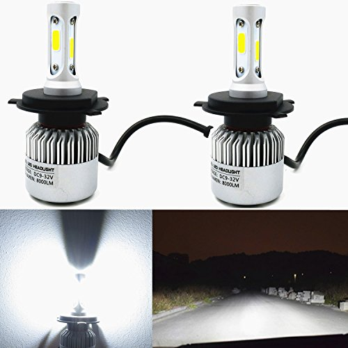 (Alla Lighting 8000lm Xtremely Super Bright 6500K Xenon White High Power Mini H4 9003 LED Headlight Conversion Kits Lamps Replacement (H4 9003))