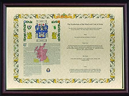 Framed Surname History With Meaning Of The Coat Of Arms Symbols